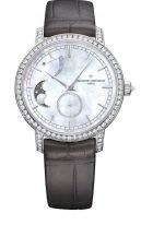 Женские классические часы Vacheron Constantin Traditionnelle-83570_000G_9916 в белом золоте с бриллиантовым рантом, с запасом хода и фазами Луны, перламутровый циферблат, кожа кроко.
