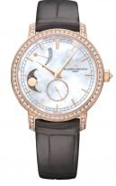 Женские классические часы Vacheron Constantin Traditionnelle-83570_000R_9915 в розовом золоте с бриллиантовым рантом, с запасом хода и фазами Луны, перламутровый циферблат, коричневая кожа кроко.