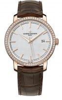 Мужские/женские классические часы Vacheron Constantin Traditionnelle-85520_000R_9850 в розовом золоте с бриллиантовым рантом, с датой, гильошированный циферблат, коричневая кожа кроко.