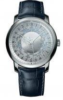 Мужские классические часы Vacheron Constantin Traditionnelle-86060_000P_9979 в платиновом корпусе с мировым временем, серебристый циферблат, синяя кожа кроко