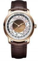 Мужские классические часы Vacheron Constantin Traditionnelle-86060_000R_8985 в розовом золоте с мировым временем, светло-коричневый циферблат, коричневая кроко.