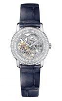 Женские классические часы Vacheron Constantin Traditionnelle 33558_000G_9394 в белом золоте с бриллиантовым рантом, циферблат скелетон, синяя кожа кроко.