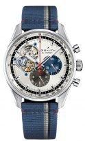 Мужские наручные часы Zenith Chronomaster-03_2040_4061_69_C802 хронограф в стальном корпусе, на серебристом циферблате счетчики двух цветов, открытая часть циферблата, синий текстильный ремешок.