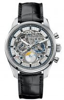 Мужские наручные часы Zenith Chronomaster-03_2530_4047_78_C813 хронограф с большой датой в стальном корпусе, скелетированный светлый циферблат, черная кожа кроко.