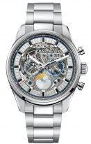 Мужские наручные часы Zenith Chronomaster-03_2530_4047_78_M2530 хронограф с большой датой и фазами Луны в стальном корпусе, скелетированный циферблат, стальной браслет.