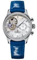 Женские часы Zenith Chronomaster-16_2150_4062_81_C754 в стальном корпусе с бриллиантовым безелем, перламутровым светлым циферблатом с открытым механизмом, синей кожей кроко.