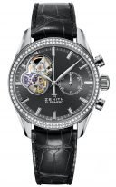 Женские часы Zenith Chronomaster-16_2150_4062_91_C760 в стальном корпусе с бриллиантовым безелем, темно-серый матовый циферблат с открытым механизмом, серый ремешок кроко.