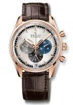 Мужские наручные часы Zenith Chronomaster 18 2043 400 69 C494 хронограф в розовом золоте, серебристый циферблат со счетчиками разных цветов, коричневая кожа кроко.