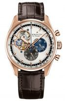 Мужские наручные часы Zenith Chronomaster 18 2040 4061 69 C494 хронограф в розовом золоте, серебристый циферблат с открытой частью механизма, коричневая кроко.