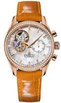 Женские часы Zenith Chronomaster-22_2150_4062_81_C753 в розовом золоте с бриллиантовым безелем, белоснежный перламутровый циферблат с открытым механизмом, бежевый ремешок кроко.