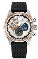 Часы мужские Zenith Chronomaster-51_2080_4061_69_R576 хронограф в биколорном корпусе (сталь/розовое золото) с серебристым циферблатом и открытой частью механизма, черный каучук.