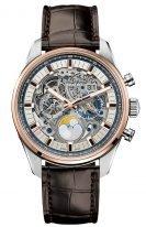 Мужские наручные часы Zenith Chronomaster-51_2530_4047_78_C810 хронограф с большой датой и фазами Луны в биколорном корпусе (сталь/розовое золото) со скелетированным циферблатом, коричневой кожей кроко
