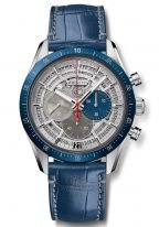 Мужские наручные часы Zenith Chronomaster 95 3002 3600 69 C8183 хронограф в титановом корпусе с керамическим рантом, скелетированный циферблат, синий кроко ремешок.