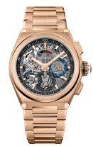 Мужские наручные часы Zenith Defy 18 9000 9004 71 M9000 хронограф в розовом золоте, темный скелетированный циферблат со счетчиками двух цветов, браслет из розового золота.