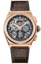 Мужские наручные часы Zenith Defy 18 9000 9004 71 R585 хронограф в розовом золоте, темный скелетированный циферблат со счетчиками двух цветов, коричневая кожа.