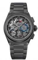 Мужские спортивные часы Zenith Defy-49_9000_9004_78_M9000 хронограф в черной керамике, черный скелетированный циферблат, керамический браслет