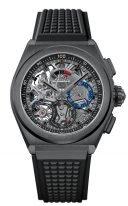 Мужские спортивные часы Zenith Defy-49_9000_9004_78_R782 хронограф в черненной керамике, черный скелетированный циферблат со счетчиками двух цветов, черный каучук с 3D эффектом