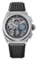 Мужские спортивные часы Zenith Defy 95 9000 9004 78 R782 хронограф в титановом корпусе, черный скелетированный циферблат, черный каучук