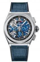 Мужские спортивные часы Zenith Defy-95_9002_9004_78_R584 хронограф в титановом корпусе, синий скелетированный циферблат со счетчиками двух цветов, синяя кожа.