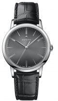 Мужские классические часы Zenith Elite-03_2290_679_26_C493 в стальном корпусе, черный циферблат с градацией цвета, черный кожа кроко