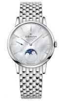 Женские наручные часы Zenith Elite-03_2320_692_81_M2320 с фазой Луны в стальном корпусе, светлый перламутровый циферблат, стальной браслет.