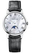 Женские наручные часы Zenith Elite-03_2320_692_81_C714 с фазами Луны, в стальном корпусе, со светлым перламутровым циферблатом, ремешком черным кроко.