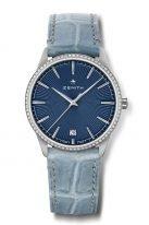 Женские классические часы Zenith Elite 16 3200 670 02 C832 с датой в стальном корпусе с бриллиантовым рантом, синий циферблат, голубой ремешок.