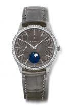 Женские классические часы Zenith Elite 16 3200 692 03 C833 с фазами Луны в стальном корпусе с бриллиантовым рантом, с серым циферблатом с градацией цвета, серая кожа кроко.