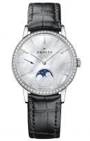 Женские наручные часы Zenith Elite-16_2320_692_80_C714 с фазами Луны в стальном корпусе с бриллиантовым рантом, светлый перламутровый циферблат с римскими цифрами, черный ремешок кроко.
