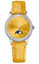 Женские наручные классические часы Zenith Elite-16_2331_692_74_C815 с фазами Луны в стальном корпусе с бриллиантовым безелем, желтый циферблат с метками, желтый ремешок кроко.