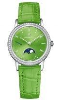 Женские наручные часы Zenith Elite-16_2332_692_64_C816 с фазами Луны, в стальном корпусе с бриллиантовым рантом, циферблат ярко-зеленый с часовыми метками, кожа кроко зеленая.