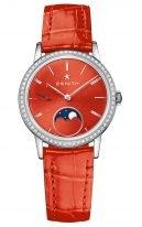 Женские наручные Zenith Elite-16_2334_692_71_C818 с фазами Луны, в стальном корпусе с бриллиантовым рантом, ярко-красный циферблат с часовыми метками и красный ремешок кроко.