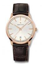 Мужские классические часы Zenith Elite 18 3100 670 01 C920 с фазами Луны в розовом золоте, серебристый гильошированный циферблат, коричневая кожа кроко.