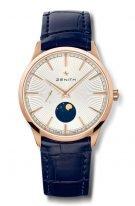 Мужские классические часы Zenith Elite 18 3100 692 01 C922 с фазой Луны в розовом золоте, серебристый гильошированный циферблат, синяя кожа кроко.