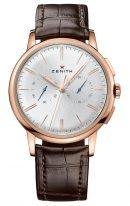 Мужские классические часы Zenith Chronomaster-18_2270_4069_01_C498 хронограф в розовом золоте, серебристый гильошированный циферблат, коричневая кожа кроко.