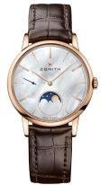 Женские наручные часы Zenith Elite-18_2320_692_80_C713 с фазами Луны в розовом золоте, с перламутровым циферблатом и часовыми метками, коричневая кожа кроко.