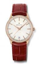 Женские классические часы Zenith Elite 22 3200 670 01 C831 в розовом золоте с бриллиантовым безелем, светлый циферблат, красный ремешок