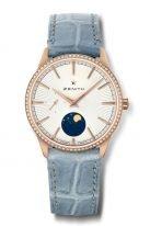 Женские классические часы Zenith Elite 22 3200 692 01 C832 с фазами Луны, в розовом золоте с бриллиантовым безелем, светлый циферблат, голубой ремешок.