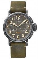 Мужские спортивные часы Zenith Pilot-11_2430_4069_21_C773 хронограф в корпусе из состаренной стали, темно-серый циферблат с арабскими цифрами и люминесцентом, зеленый нубуковый ремешок
