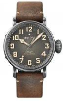 Мужские спортивные часы Zenith Pilot 11 2430 679 21 C801 в состаренном стальном корпусе, с темно-серым циферблатом и арабскими цифрами, нубуковый коричневый ремешок.