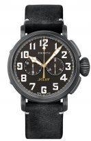 Мужские спортивные часы Zenith Pilot 11 2432 4069 21 C900 хронограф в состаренной стали, черный матовый циферблат, черный нубуковый ремешок.