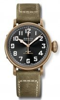 Мужские спортивные часы Zenith Pilot 29 1940 679 21 C800 в состаренном бронзовом корпусе, циферблат темный с арабскими цифрами, нубуковый ремешок.
