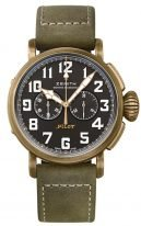 Мужские спортивные часы Zenith Pilot-29_2430_4069_21_C800 хронограф в бронзовом корпусе, матовый черный циферблат с люминесцентом, зеленый нубуковый ремешок.
