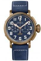 Мужские наручные часы Zenith Pilot-29_2430_4069_57_C808 хронограф в бронзовом корпусе, синий матовый циферблат, синий нубуковый ремешок.