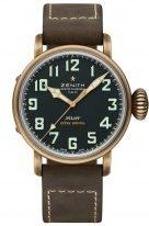 Мужские наручные часы Zenith Pilot-29_2430_679_21_C753 хронограф в бронзовом корпусе, матовый черный циферблат с арабскими цифрами, коричневый нубуковый ремешок.