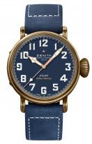 Мужские спортивные часы Zenith Pilot 29 2430 679 57 C808 в бронзовом корпусе, синий зернистный циферблат с арабскими цифрами, синий нубуковый ремешок.