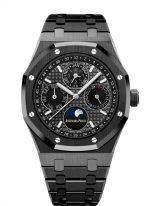 Мужские спортивные наручные часы Audemars Piguet Royal Oak-26579CE_OO_1225CE_01 с вечным календарем и фазами Луны в керамическом корпусе с черным циферблатом на керамическом браслете.