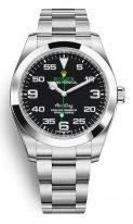 Мужские спортивные часы Rolex Air King 116 900 в стальном корпусе с черным циферблатом, на стальном браслете Oyster.