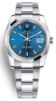 Часы унисекс (женские и мужские) Rolex Datejust Date- 115 200 в стальном корпусе с синим циферблатом на браслете Oyster
