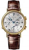 Мужские классические часы Breguet Classique-5707BA_12_9V6 будильник в желтом золоте, также время второго часового пояса, гильошированный циферблат, коричневая кроко.